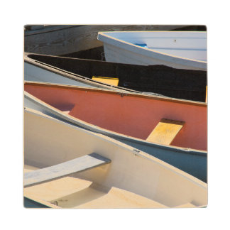 Maine, Rockland. Colorful boats in Rockland Wood Coaster