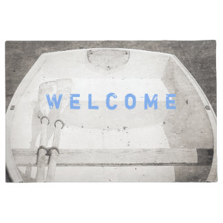 Maine Rowboat B&W Boat Nautical Door Mat