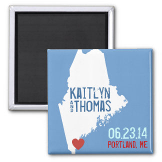 Maine Save the Date - Customizable City Square Magnet