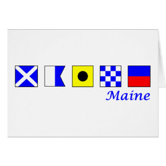 Maine spelled in nautical flag alphabet card