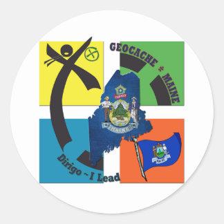 MAINE STATE MOTTO GEOCACHER CLASSIC ROUND STICKER