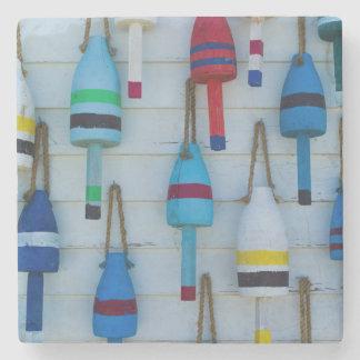 Maine, Stonington, decorative lobster buoys Stone Beverage Coaster