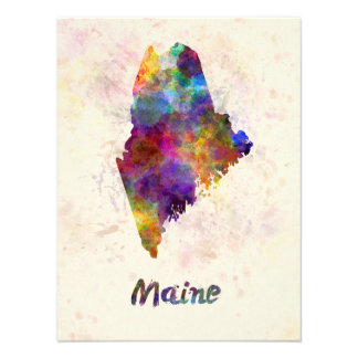 Maine U.S. state in watercolor Art Photo