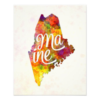 Maine U.S. State in watercolor text cut out Photo