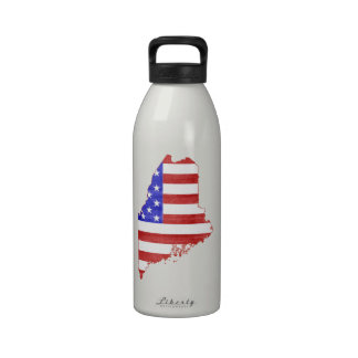 Maine USA flag silhouette state map Water Bottle
