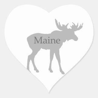 Maine USA Logo moose Heart Sticker