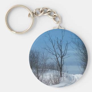 Maine Winter Basic Round Button Keychain