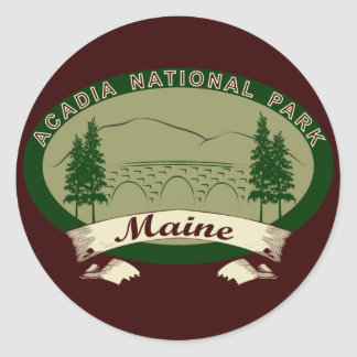 Maine's Acadia National Park Round Sticker