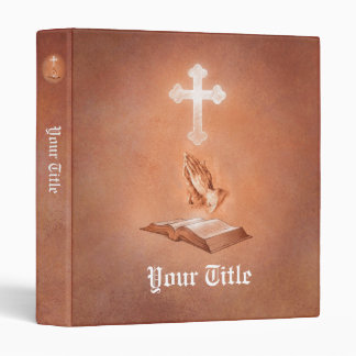 Mains de prière avec la croix et la bible classeur 3 anneaux