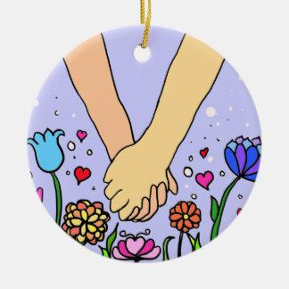 Mains se tenantes romantiques - datation/cadeau d' décoration pour sapin de noël