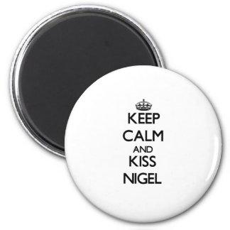 Maintenez calme et baiser Nigel Magnets