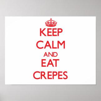 Maintenez calme et mangez les crêpes affiche
