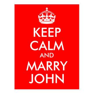 Maintenez calme et mariez la carte postale de John