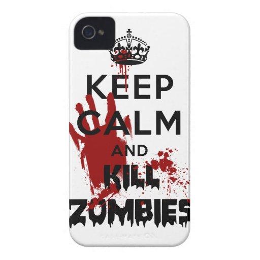 Maintenez cas drôle calme et de mise à mort de zom étui iPhone 4