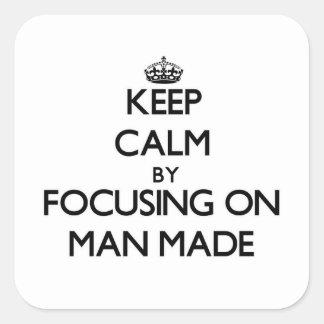 Maintenez le calme en se concentrant sur l'homme autocollants carrés