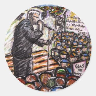 mairtin o cadhain round sticker