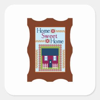 Maison douce à la maison stickers carrés
