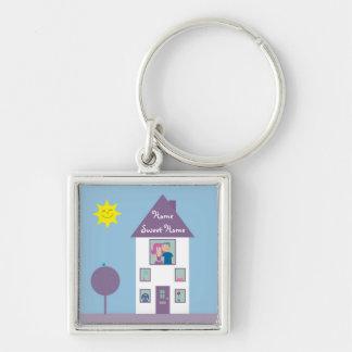 Maison douce à la maison porte-clé carré argenté