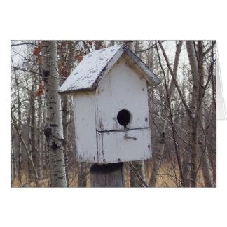maison en bois patinée d oiseau par la note de Kim Carte