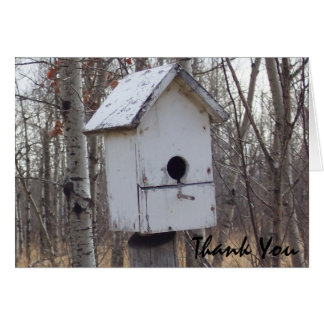 maison en bois patinée d'oiseau par la note de Kim Carte De Vœux
