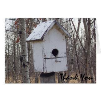 maison en bois patinée d'oiseau par la note de Kim Carte De Correspondance