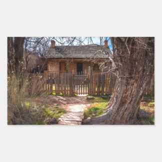Maison en bois - ville fantôme de Grafton - l'Utah Sticker Rectangulaire
