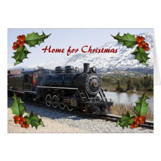 Maison sur le train pour la carte de Noël