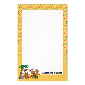 Maisy and Cyril with Palm Tree at the Beach Stationery Paper
