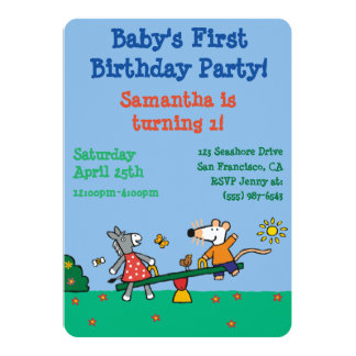"""Maisy and Dotty Seesaw at the Playground 5"""" X 7"""" Invitation Card"""