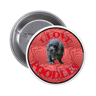 Maitai the Poodle Button. 2 Inch Round Button