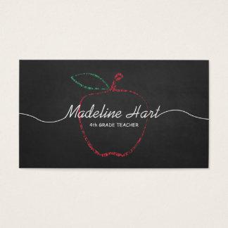 Maître d'école élémentaire de tableau rouge cartes de visite