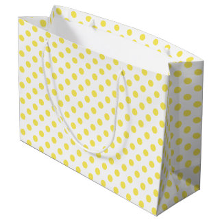 Maize Yellow Polka Dots Circles Large Gift Bag