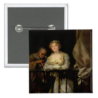 Maja and Celestina on a Balcony, 1805-12 2 Inch Square Button