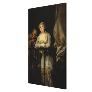 Maja and Celestina on a Balcony 1805-12 Stretched Canvas Prints