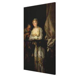 Maja and Celestina on a Balcony, 1805-12 Canvas Print