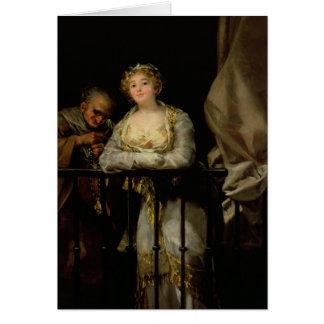 Maja and Celestina on a Balcony, 1805-12 Greeting Card