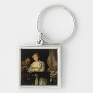 Maja and Celestina on a Balcony, 1805-12 Silver-Colored Square Keychain