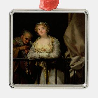 Maja and Celestina on a Balcony, 1805-12 Silver-Colored Square Ornament