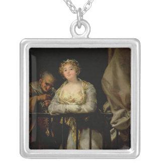 Maja and Celestina on a Balcony, 1805-12 Silver Plated Necklace