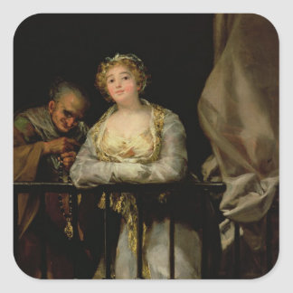 Maja and Celestina on a Balcony, 1805-12 Square Sticker