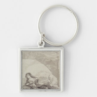 Maja and Celestina under an arch Silver-Colored Square Keychain