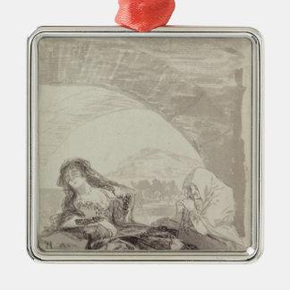 Maja and Celestina under an arch Silver-Colored Square Ornament