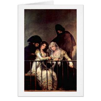 Majas On A Balcony By Francisco De Goya Greeting Cards