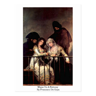 Majas On A Balcony By Francisco De Goya Postcard