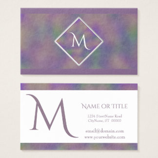 Majenta Purple Gold Initial Geometric Business Card