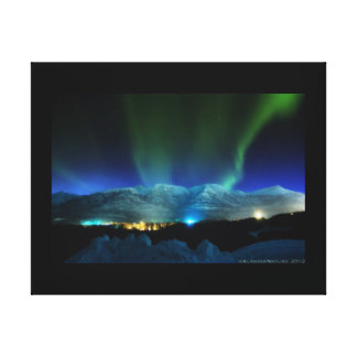 Majestic Aurora Borealis over the Mountains Canvas Print