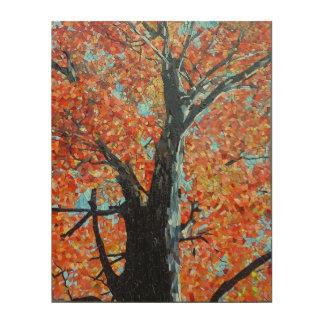 Majestic Autumn Tree Mosaic Design Wood Print