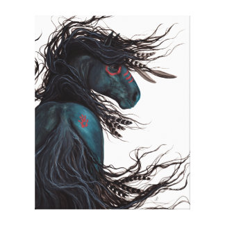Majestic Black Horse Friesian Canvas Print Bihrle