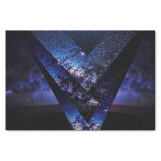 Majestic Blue Sparkly Starry Nebula Night Sky Tissue Paper