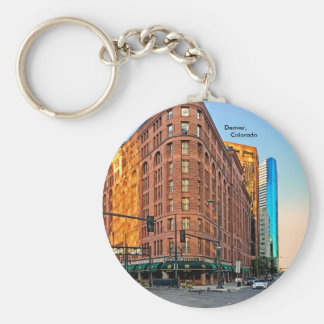 Majestic Brown Palace Hotel At Sunset, Denver, CO Basic Round Button Keychain